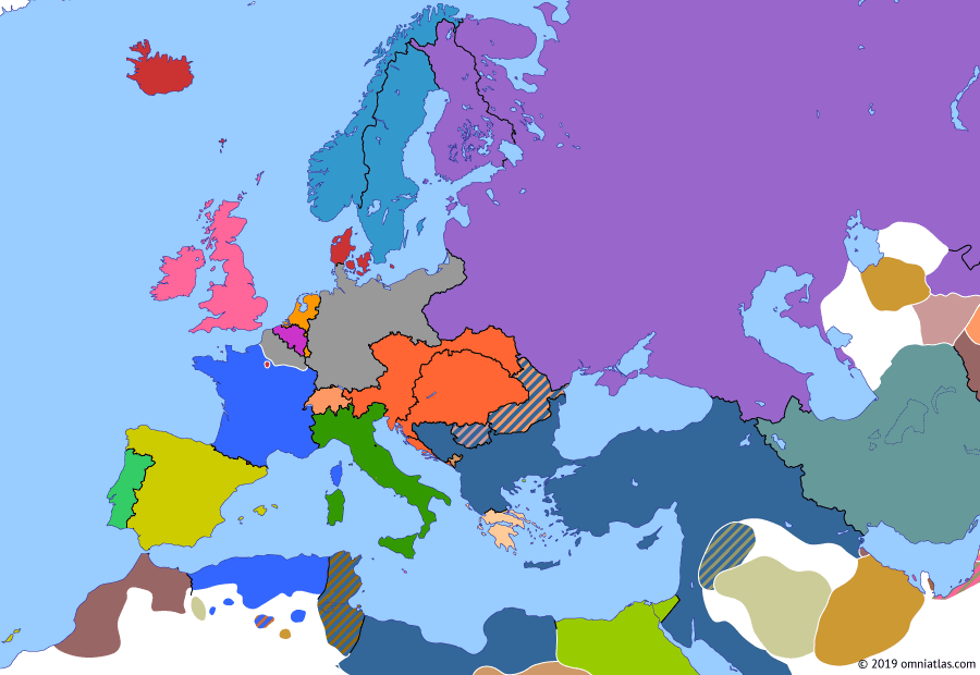 Political map of Europe & the Mediterranean on 10 May 1871 (German Unification: Treaty of Frankfurt), showing the following events: Paris Commune; Northern France subject to German military occupation until France pays indemnity of 5 billion francs; Treaty of Frankfurt; Treaty of Frankfurt.