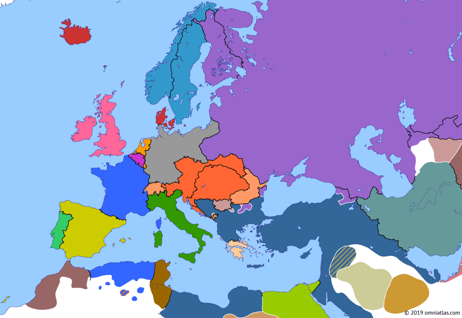 Political map of Europe & the Mediterranean on 02 Jan 1878 (Imperial Europe: Great Eastern Crisis), showing the following events: Third Carlist War; Herzegovina Uprising; April Uprising; Serbian-Ottoman War; Constantinople Conference; Russo-Turkish War; Romanian War of Independence.