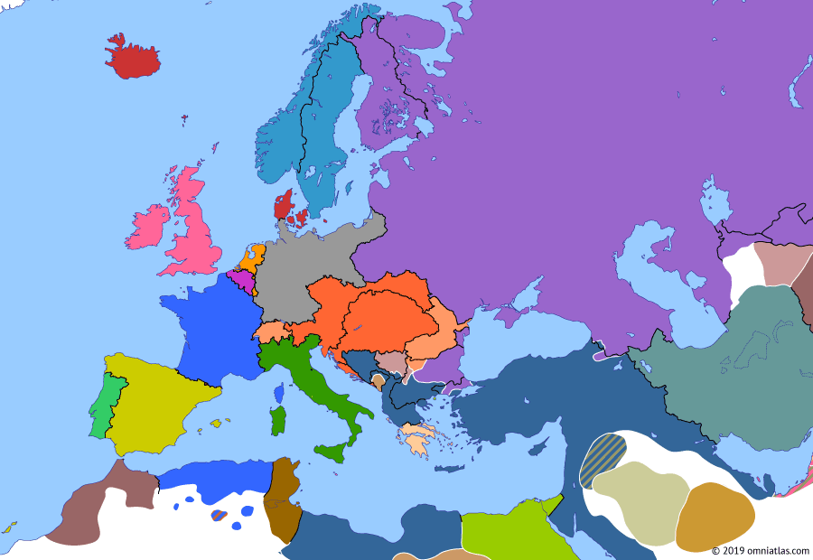 Political map of Europe & the Mediterranean on 17 Mar 1878 (Imperial Europe: Treaty of San Stefano), showing the following events: Battle of Sofia; Treaty of San Stefano.