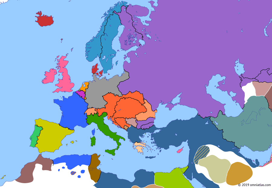 Political map of Europe & the Mediterranean on 20 Oct 1878 (Imperial Europe: Aftermath of the Great Eastern Crisis), showing the following events: Cyprus Convention; Congress of Berlin; Division of Bulgaria; Austria-Hungary occupies Bosnia and Herzegovina.