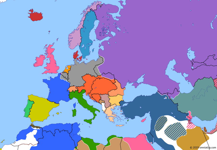Political map of Europe & the Mediterranean on 26 Apr 1915 (The Great War: Gallipoli Campaign), showing the following events: First Zeppelin raid on Britain; Unrestricted submarine warfare; Second Battle of Ypres; April 24 Armenian deportation; Allied landings at Gallipoli.
