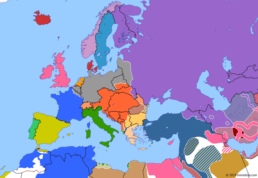 Political map of Europe & the Mediterranean on 11 Jul 1917 (The Great War: Kerensky Offensive), showing the following events: Nivelle Offensive; Greeks enter World War I; Kerensky Offensive; Battle of Aqaba.