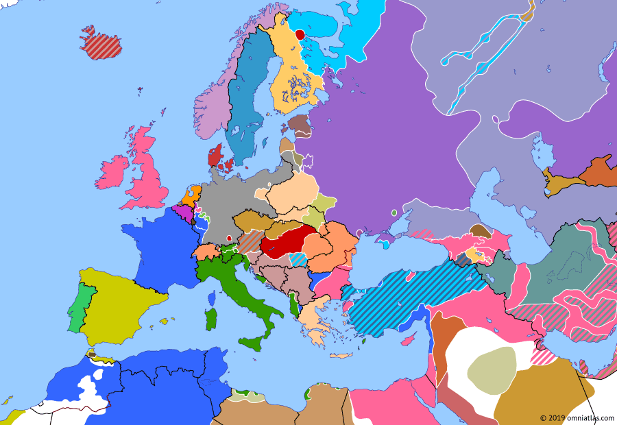 Political map of Europe & the Mediterranean on 09 Apr 1919 (Armistice Europe: Spectre of Communism), showing the following events: Bolsheviks take Kiev; Hungarian Soviet Republic; Bavarian Soviet Republic.