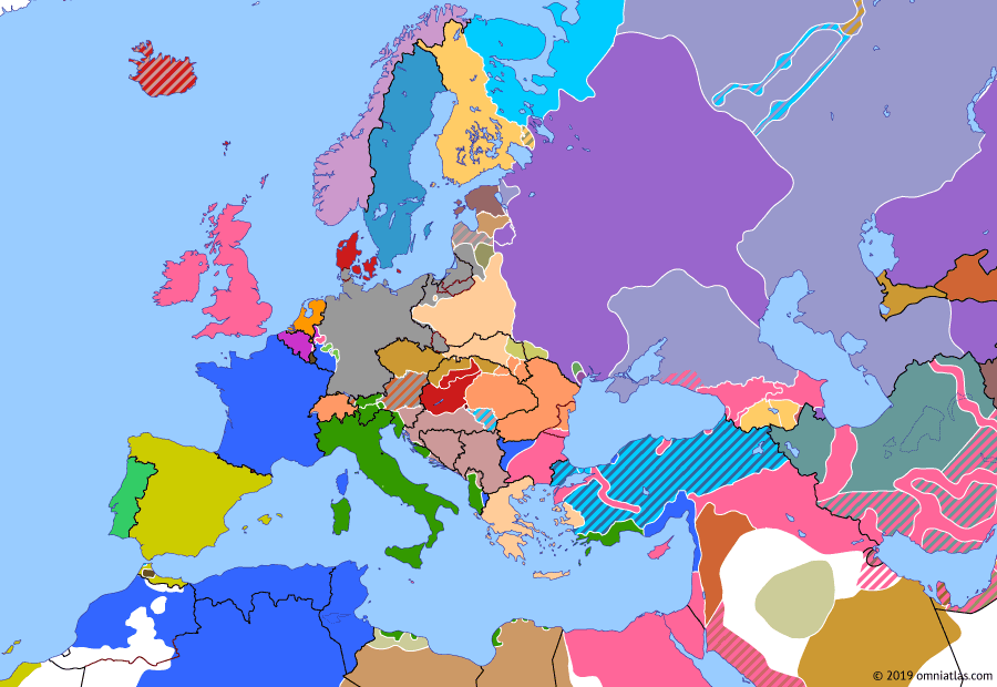 Political map of Europe & the Mediterranean on 28 Jun 1919 (Armistice Europe: Treaty of Versailles), showing the following events: Hungarian-Romanian War begins; Italian occupation of Adalia; German army retakes Munich; Slovak Soviet Republic; Treaty of Versailles.