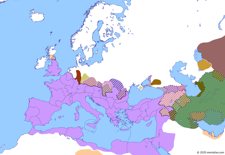 Political map of Europe & the Mediterranean on 30 Dec 192 (The Nerva–Antonine Dynasty: Reign of Commodus), showing the following events: Principate of Commodus; Commodus' Marcomannic campaign; Commodus' Britannic War; War of the Deserters; Osroes II of Parthia; Colonia Commodiana.