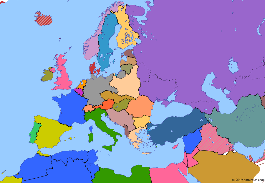 Political map of Europe & the Mediterranean on 07 Mar 1936 (The Rise of Fascism: Remilitarization of the Rhineland), showing the following events: February Uprising in Austria; Saar status referendum; Outbreak of Second Italo-Ethiopian War; Remilitarization of the Rhineland.