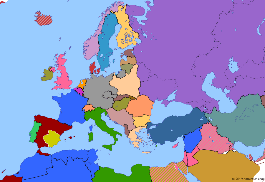 Political map of Europe & the Mediterranean 15 March 1939 (End of Czechoslovakia): The 1938 Munich Agreement did not end German expansionism. In March 1939, Hitler encouraged the breakup of what was left of Czechoslovakia (Second Czechoslovak Republic) and proceeded to occupy the Czech rump state (Protectorate of Bohemia and Moravia). Britain and France now saw that war was inevitable.