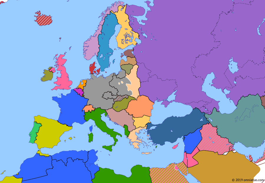 Political map of Europe & the Mediterranean 16 September 1939 (Invasion of Poland): The signing of the Molotov–Ribbentrop Pact in August 1939 removed the threat from the Soviet Union, allowing Hitler to invade Poland on 1 September (Invasion of Poland (1939)). Two days later, Britain and France declared war on Germany. The Second World War (World War II) had begun.