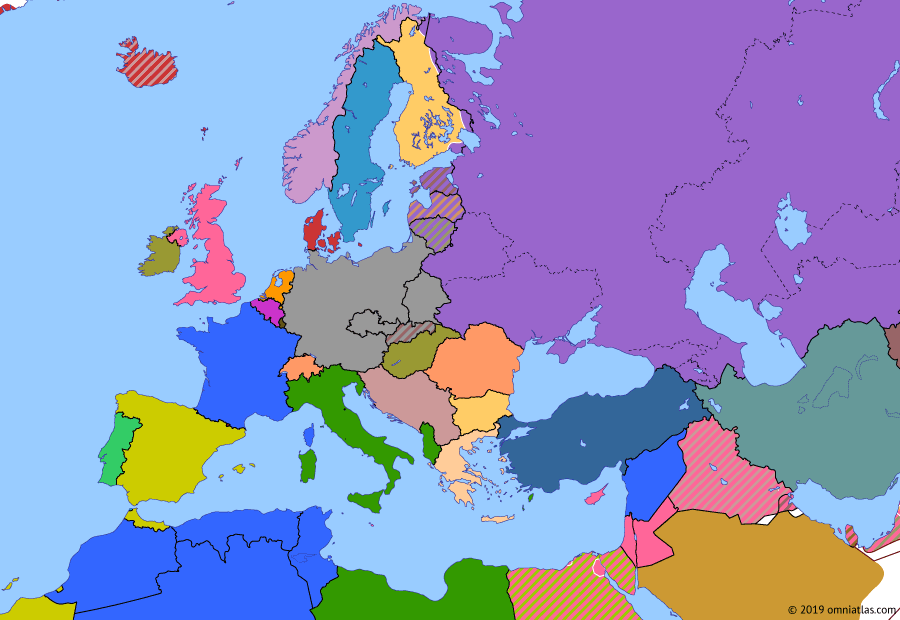 Political map of Europe & the Mediterranean on 11 Mar 1940 (World War II: Blitzkrieg: Winter War), showing the following events: Soviet Invasion of Poland; Soviet influence over Baltic states; Winter War.