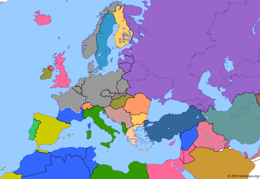 Political map of Europe & the Mediterranean on 21 Jun 1940 (World War II: Blitzkrieg: Fall of France), showing the following events: Operation Dynamo; Italian entry into World War II; Frontier Wire offensive; Siege of Malta; Soviet Occupation of the Baltic; Second Armistice at Compiègne.