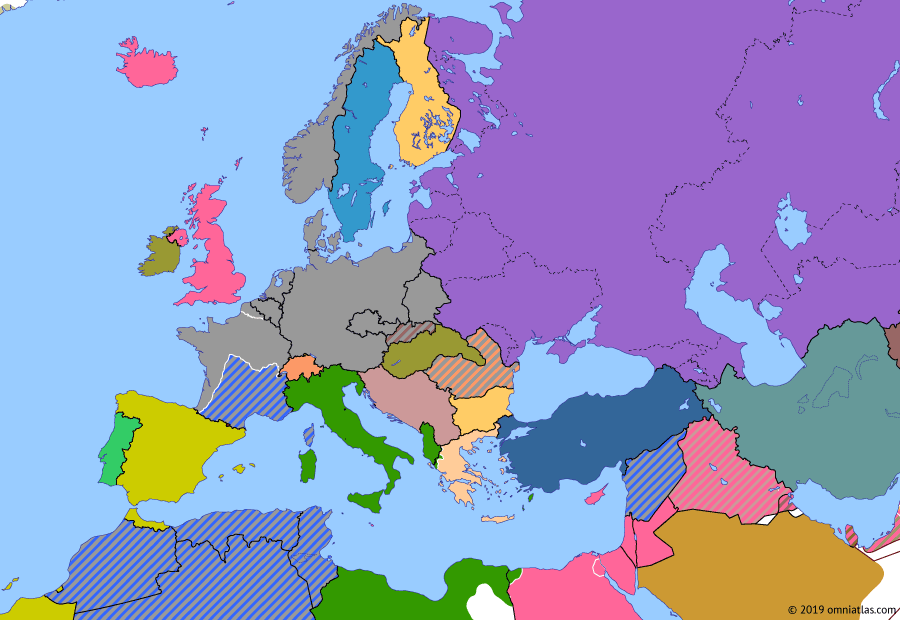 Political map of Europe & the Mediterranean 3 November 1940 (Italian Offensives): In an attempt to match Hitler's victories, Mussolini ordered invasions of Egypt (Italian invasion of Egypt) and Greece (Greco-Italian War). But the Italian army was not ready for war, and both offensives quickly ran out of steam.