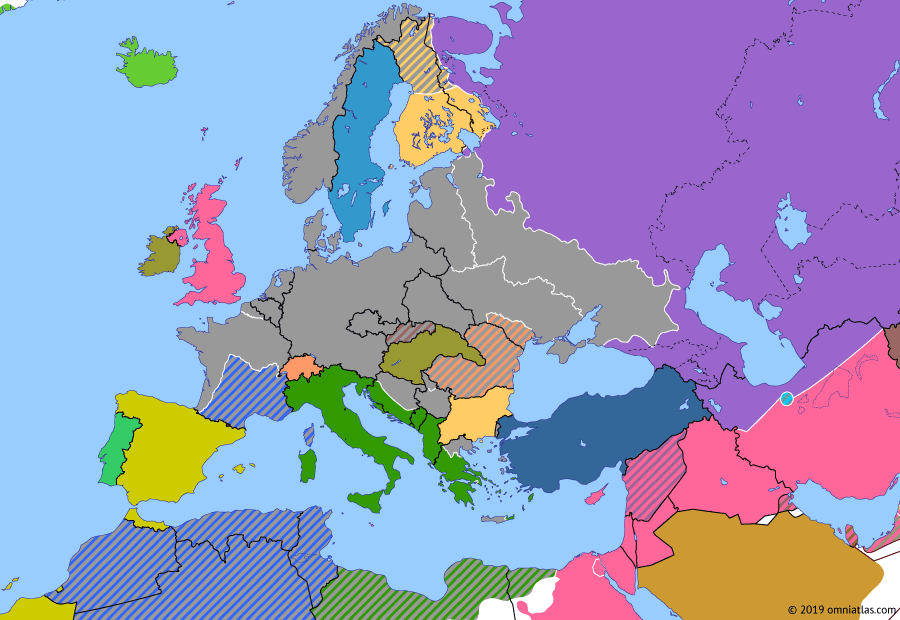 Political map of Europe & the Mediterranean on 16 Sep 1942 (World War II: Blitzkrieg: Case Blue), showing the following events: Case Blue; First Battle of El Alamein; Fall of Sevastopol; Dieppe Raid; Sinyavino Offensive; Battle of Stalingrad begins.