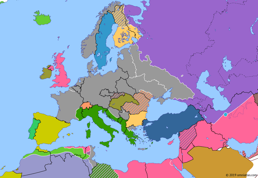 Political map of Europe & the Mediterranean on 29 Dec 1942 (World War II: Fall of the Third Reich: Failure of Winter Storm), showing the following events: Scuttling of the French fleet in Toulon; Operation Winter Storm; Operation Little Saturn.