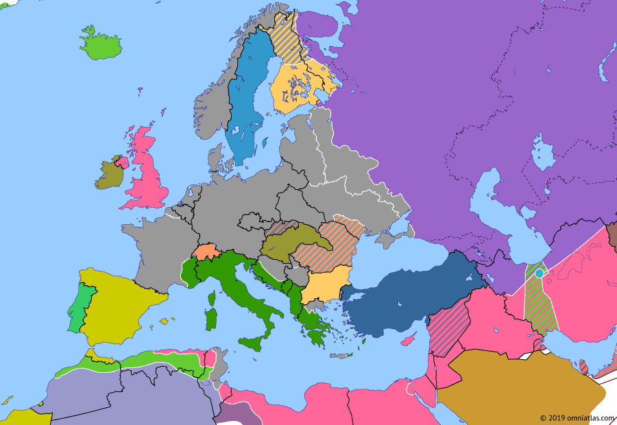 Political map of Europe & the Mediterranean on 19 Mar 1943 (World War II: Fall of the Third Reich: Aftermath of Stalingrad), showing the following events: Third Battle of Kharkov; Third Rzhev-Sychevka Offensive; Battle of the Mareth Line.