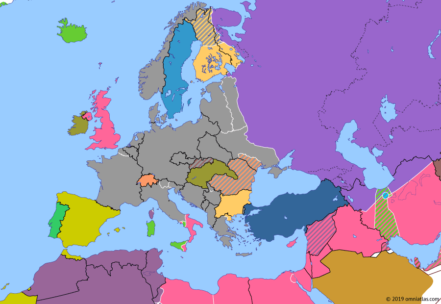 Political map of Europe & the Mediterranean on 30 Sep 1943 (World War II: Fall of the Third Reich: Fall of Mussolini), showing the following events: Kursk Strategic Offensive; 25 Luglio; Bombing of Hamburg; Drive to the Dnieper; Allied Invasion of Italy; Armistice of Cassibile; Dodecanese Campaign.
