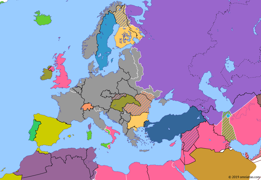 Political map of Europe & the Mediterranean on 29 Jan 1944 (World War II: Fall of the Third Reich: Soviet Breakthrough), showing the following events: Kiev Strategic Offensive; Tehran Conference; Operation Shingle; Relief of Leningrad.