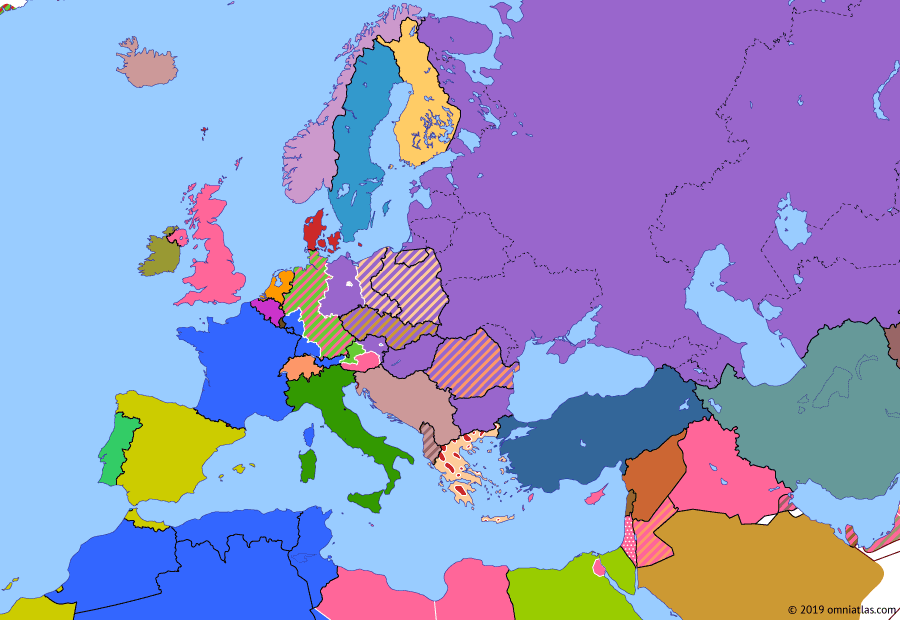 Political map of Europe & the Mediterranean on 10 Feb 1947 (The Cold War: Paris Peace Treaties), showing the following events: Nuremberg Trials; Greek Civil War; Bizone; Paris Peace Treaty with Finland; Treaty of Peace with Italy; Paris Peace Treaties.