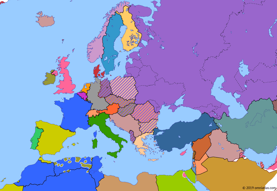 Political map of Europe & the Mediterranean on 21 Sep 1955 (The Cold War: Warsaw Pact), showing the following events: Toussaint Rouge; West Germany in NATO; Warsaw Pact; Austrian State Treaty; Soviet–GDR Treaty.