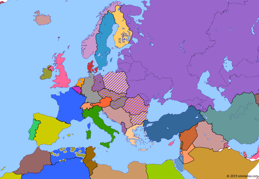 Political map of Europe & the Mediterranean on 07 Nov 1956 (The Cold War: Suez Crisis), showing the following events: Independence of Morocco; Tunisian Independence; Hungarian Uprising; Operation Musketeer; Ceasefire in Suez.
