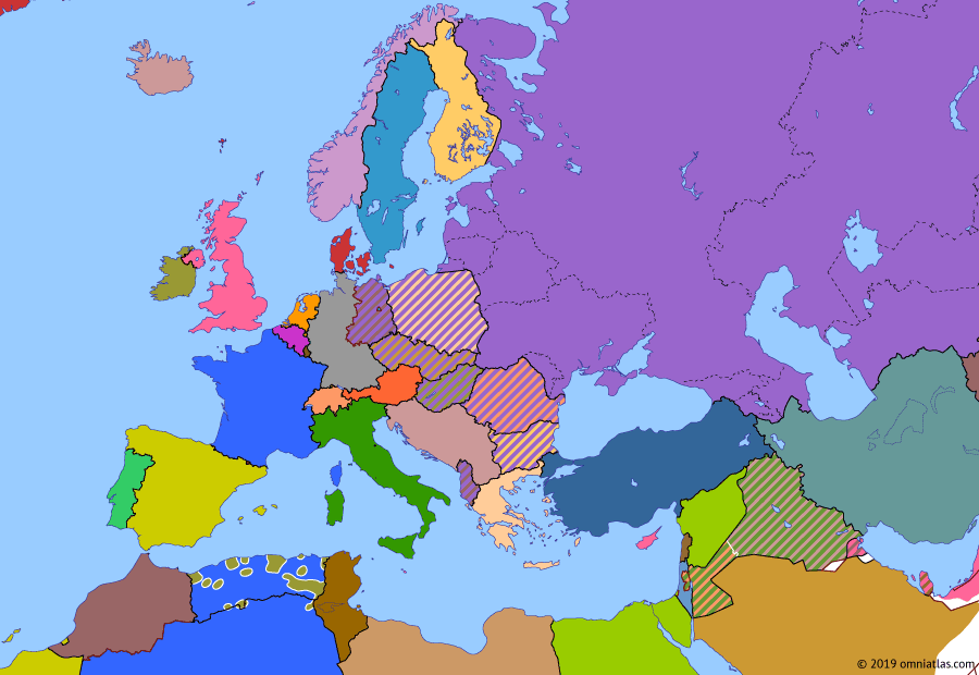 Political map of Europe & the Mediterranean on 22 Feb 1958 (The Cold War: Arab Nationalism), showing the following events: Sputnik 1; Treaty of Rome; Arab Federation; United Arab Republic.