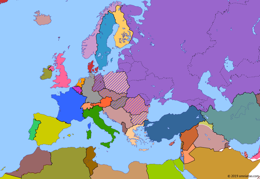 "Political map of Europe & the Mediterranean on 26 Jun 1963 (The Cold War: Berlin Wall), showing the following events: Independence of Cyprus; Independence of Kuwait; Berlin Wall; Independence of Algeria; Cuban Missile Crisis; ""Ich bin ein Berliner""."