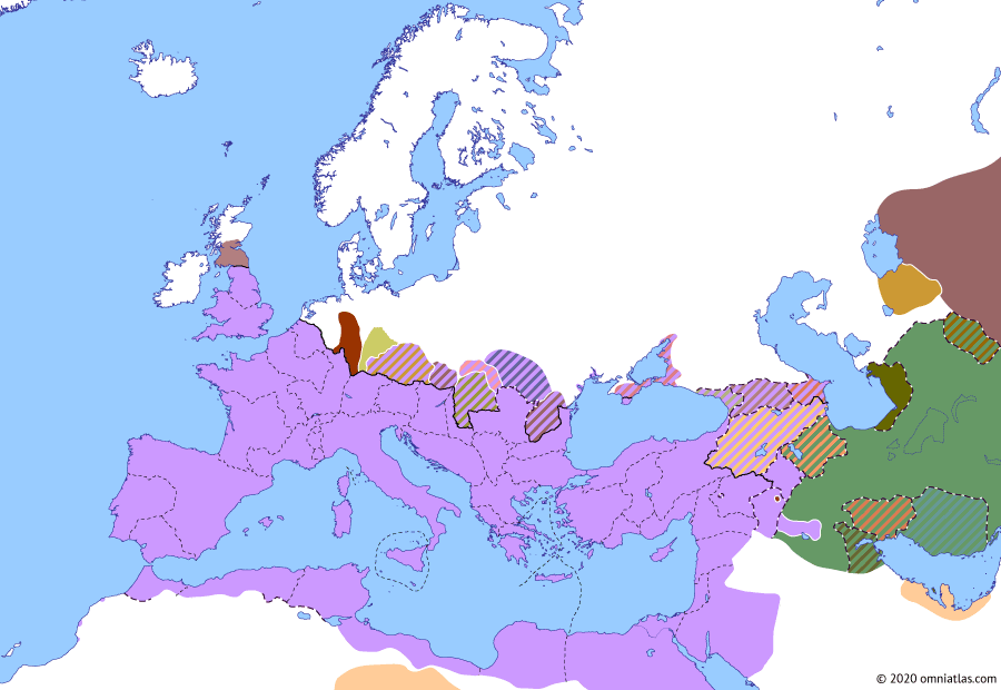 Political map of Europe & the Mediterranean on 28 Jan 198 (The Severan Dynasty: Severus' Parthian Campaign), showing the following events: Maeatae; Upper and Lower Britain; Severus' sieges of Hatra; Severus' Parthian Campaign.