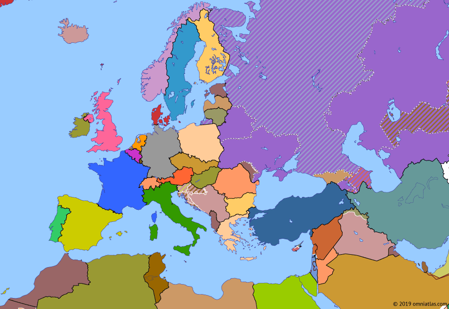 Political map of Europe & the Mediterranean on 06 Sep 1991 (Post-Cold War Europe: Baltic Independence), showing the following events: Estonian Independence; Latvian Independence; Independence of Moldova; Independence of Azerbaijan; Independence of Uzbekistan; Baltic Independence.