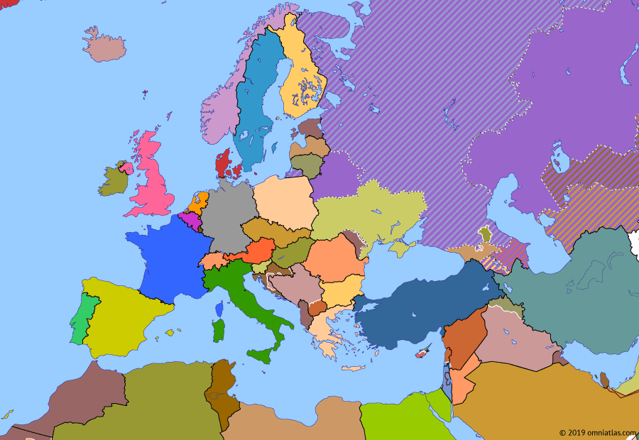 Political map of Europe & the Mediterranean on 09 Dec 1991 (Post-Cold War Europe: Croatian War of Independence), showing the following events: Independence of North Macedonia; Independence of Armenia; Independence of Croatia; Independence of Turkmenistan; Chechen Republic; Independence of Ukraine.