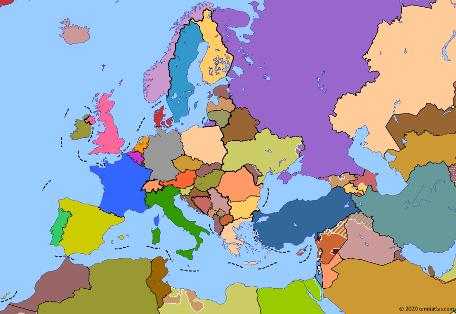 Political map of Europe & the Mediterranean on 31 Jan 2020 (The Crisis of Europe: Brexit), showing the following events: Operation Olive Branch; Kerch Strait incident; Trump's withdrawal from Syria; Iran–US confrontation; Operation Peace Spring; Brexit.