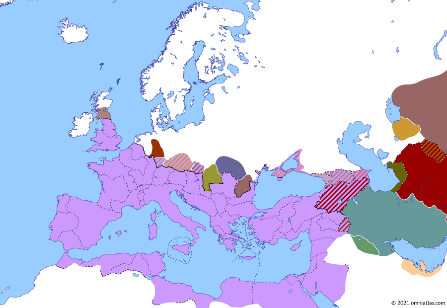 Political map of Europe & the Mediterranean on 06 Apr 227 (The Severan Dynasty: Sasanian Empire), showing the following events: Ardashir I's Conquest of Media; Ardashir I vs Vologases VI; Sasanian Empire.