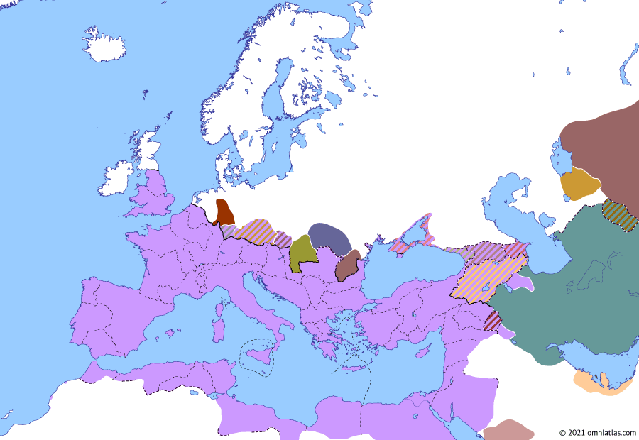 Political map of Europe & the Mediterranean on 06 Oct 232 (The Severan Dynasty: First Roman–Sasanian War), showing the following events: Ardashir I's Eastern Campaign; Roman Thessaly; Ardashir I's first Roman campaign; First Roman–Sasanian War; Taurinius.