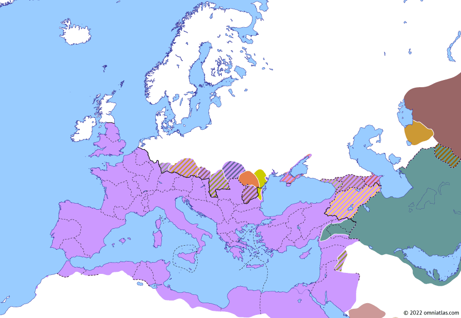 Political map of Europe & the Mediterranean summer 242 (Gordian III's Persian War): Pupienus and Balbinus ruled Rome for just a few months before they were assassinated by the Praetorian Guard in July 238 (Year of the Six Emperors), leaving the 13-year-old Gordian III as sole emperor. Meanwhile, Sasanian Persia continued to expand, capturing Hatra (Fall of Hatra), capital of the Roman-aligned Kingdom of Araba, in 240 or 241. From Hatra, the Persians invaded the Roman Empire itself (Siege of Nisibis (235)), leading Gordian to rally his troops and declare war in 242.