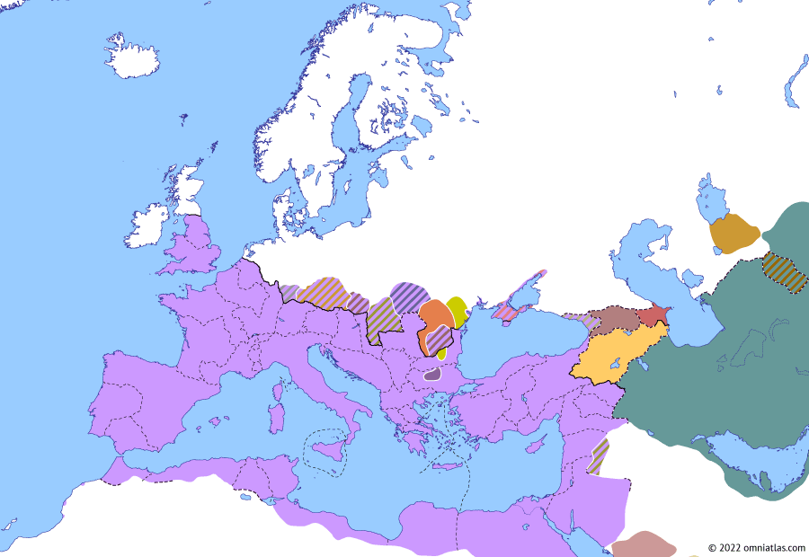 Political map of Europe & the Mediterranean on 16 Jun 251 (The Crisis of the Third Century: Battle of Abritus), showing the following events: Principate of Decius; Decius' Gothic War; Plague of Cyprian; Licinianus; Titus Julius Priscus; Principate of Trebonianus Gallus; Battle of Abritus; Post-Decian currency crisis.
