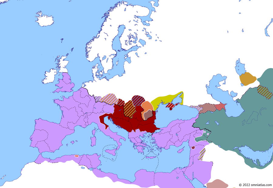 Political map of Europe & the Mediterranean on 12 Aug 253 (The Crisis of the Third Century: Battle of Barbalissos), showing the following events: Shapur I's conquest of Armenia; Aemilian's Gothic campaign; Quinquegentiani; Revolt of Aemilian; Uranius Antoninus; Battle of Barbalissos.