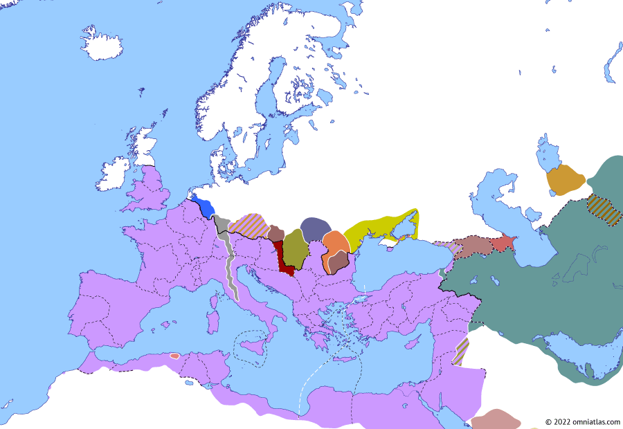 Political map of Europe & the Mediterranean on 09 Dec 258 (The Crisis of the Third Century (I): First Alemannic Invasion of Italy), showing the following events: Phrygia et Caria; Shapur I's sack of Trapezus; Ingenuus; First Alemannic invasion of Italy; Pipara.