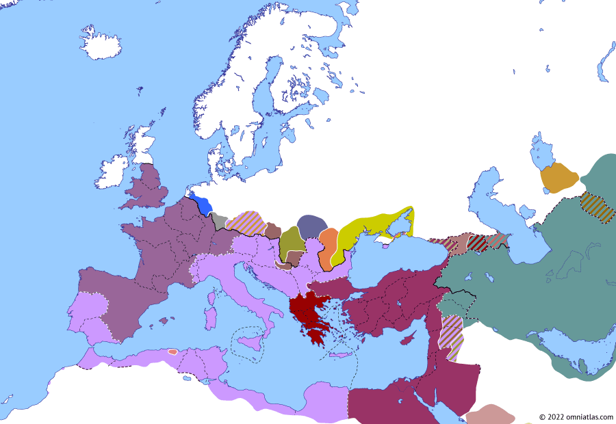 Political map of Europe & the Mediterranean on 02 Jun 261 (The Crisis of the Third Century: Defeat of the Macriani), showing the following events: Macrianian Egypt; Amazasp III of Iberia; Postumus in Britain and Spain; Macrianian invasion of Europe; Valens and Piso.