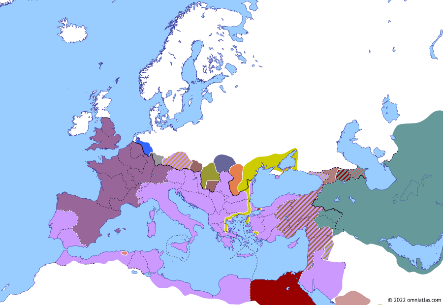 Political map of Europe & the Mediterranean on 22 Jan 262 (The Crisis of the Third Century: Odaenathus), showing the following events: End of the Macriani; Mussius Aemilianus; Gothic Raid to Thermopylae; Great Ephesian Earthquake; Revolt of Byzantium; Gothic sack of Ephesus.
