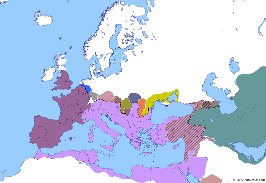 Political map of Europe & the Mediterranean on 18 Jan 263 (The Crisis of the Third Century: Limesfall), showing the following events: Gallienus in Raetia; Odaenathus' First Persian Campaign; Memor; Limesfall.