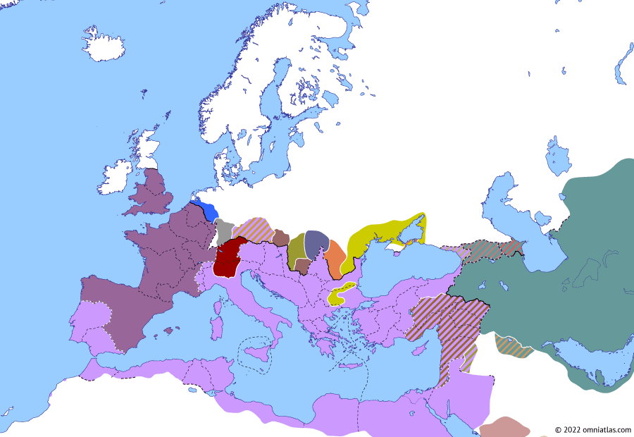 Political map of Europe & the Mediterranean on 21 May 268 (The Crisis of the Third Century (I): Battle of Nessos), showing the following events: Loss of Northern Dacia; Lakhmid Kingdom; Aureolus; Battle of Nessos.