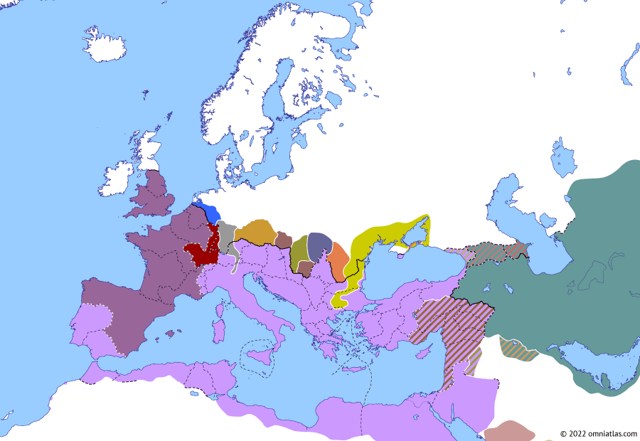 Political map of Europe & the Mediterranean on 25 Feb 269 (The Crisis of the Third Century: Battle of Lake Benacus), showing the following events: Death of Gallienus; Principate of Claudius Gothicus; Laelianus; Battle of Lake Benacus.