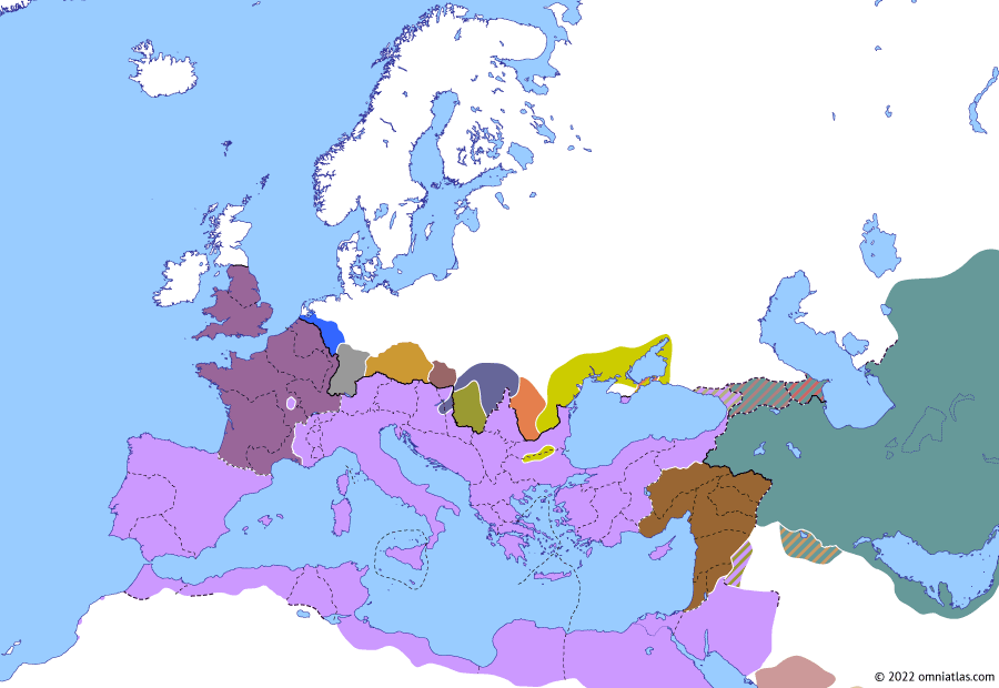 Political map of Europe & the Mediterranean on 16 Apr 270 (The Crisis of the Third Century: Wars of Claudius Gothicus), showing the following events: Marcus Aurelius Marius; Placidianus' Gallic Campaign; Victorinus; Battle of Naissus; Siege of Augustodunum; Sack of Bostra.