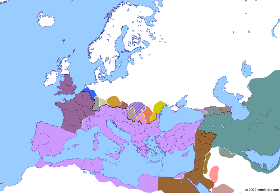 Political map of Europe & the Mediterranean on 28 May 272 (The Crisis of the Third Century: Battle of Immae), showing the following events: Dacia Aureliana; Abandonment of Dacia; Urbanus; Palmyrene Empire; Siege of Tyana; Aurelian's reconquest of Egypt; Battle of Immae.