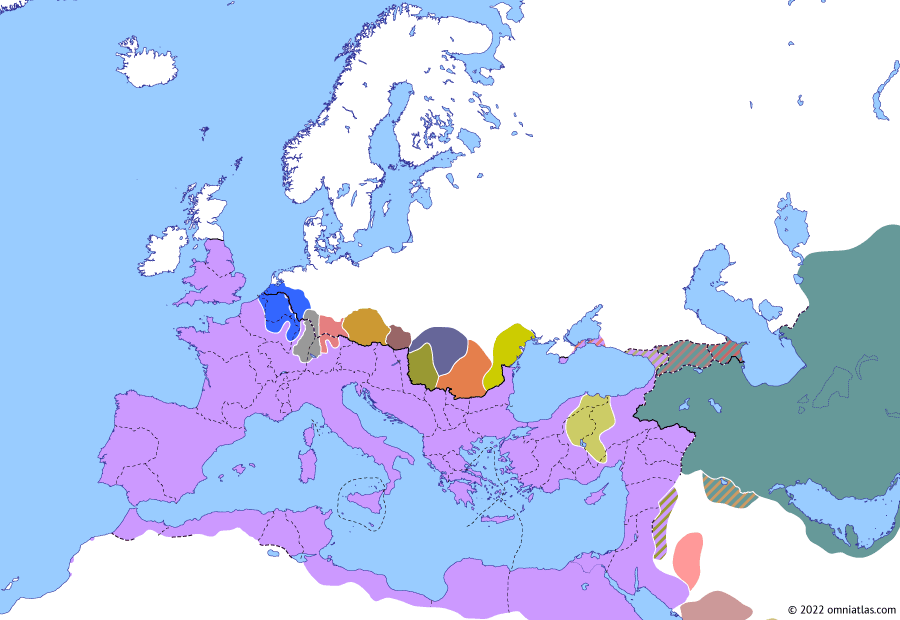 Political map of Europe & the Mediterranean on 15 Feb 276 (The Crisis of the Third Century: Marcus Claudius Tacitus), showing the following events: Principate of Tacitus; Tacitus' Herulian War; Post-Aurelian Gallic incursion.