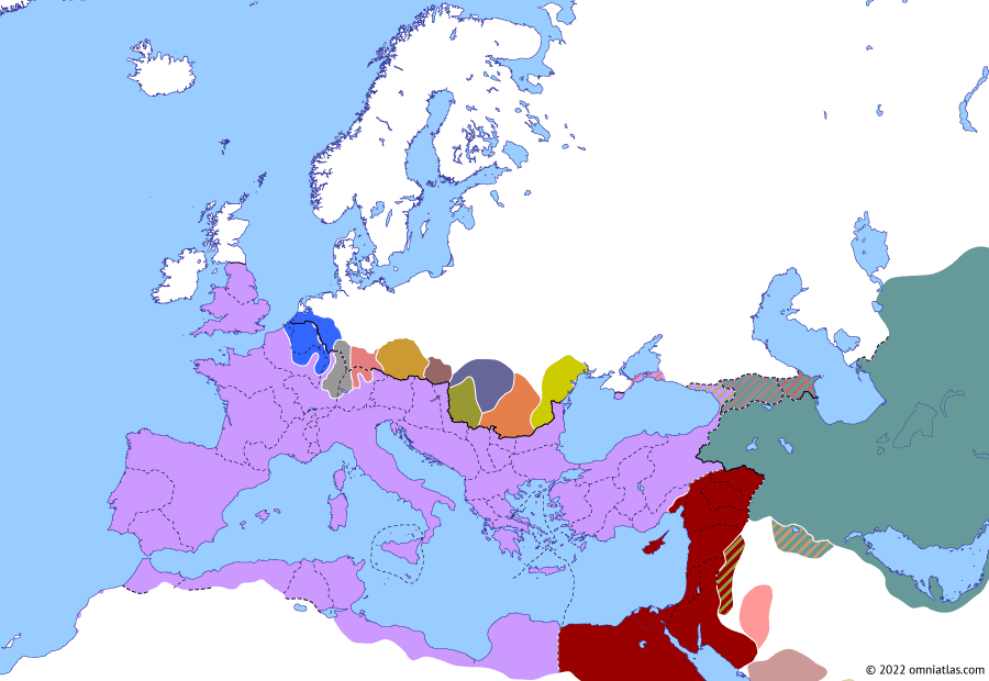 Political map of Europe & the Mediterranean on 29 Aug 276 (The Crisis of the Third Century (II): Probus vs Florian), showing the following events: Principate of Florian; Probus' Revolt; Probus–Florian War.