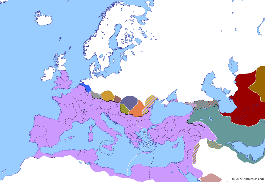 Political map of Europe & the Mediterranean on 26 Jul 283 (The Crisis of the Third Century (II): Carus' Persian campaign), showing the following events: Hormizd of Sakastan; Overthrow of Probus; Principate of Carus; Carus' Sarmatian War; Co-principate of Carinus; Carus' Persian campaign.