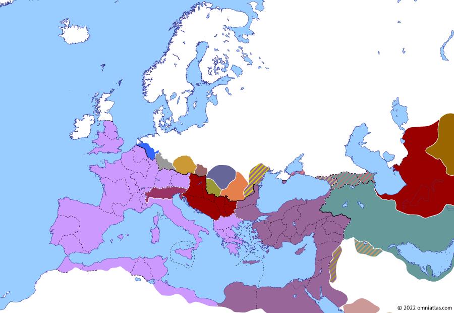 Political map of Europe & the Mediterranean on 23 Dec 284 (The Crisis of the Third Century (II): Diocletian vs Carinus), showing the following events: Co-principate of Numerian; Diocletian's revolt; Marcus Aurelius Julianus; Sabinus Julianus.