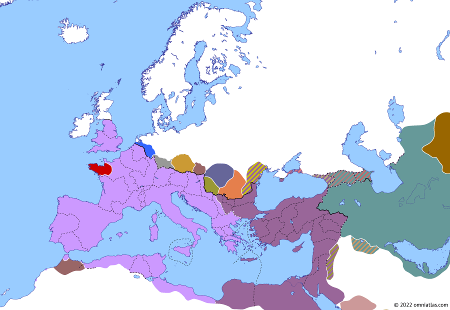 Political map of Europe & the Mediterranean on 21 Jul 285 (Diocletian and the Tetrarchy: Battle of Margum), showing the following events: Amandus and Aelianus; Fall of Volubilis; Battle of Margum.