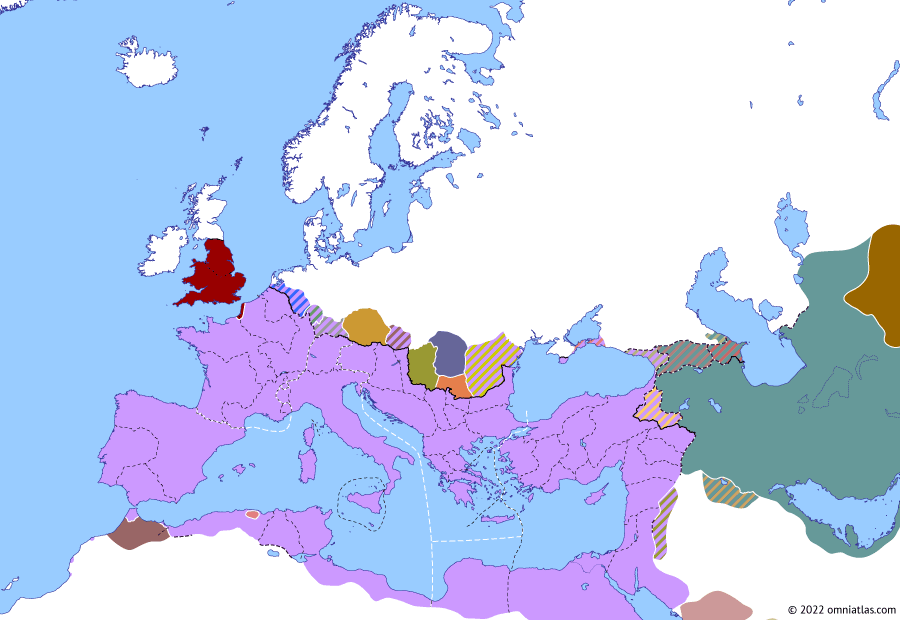 Political map of Europe & the Mediterranean on 01 Mar 293 (Diocletian and the Tetrarchy: First Tetrarchy), showing the following events: Diocletian–Bahram II Treaty; Diocletian's Second Sarmatian Campaign; Maximian vs Carausius; Second Quinquegentiani War; Burgundi; Tervingi; First Tetrarchy.