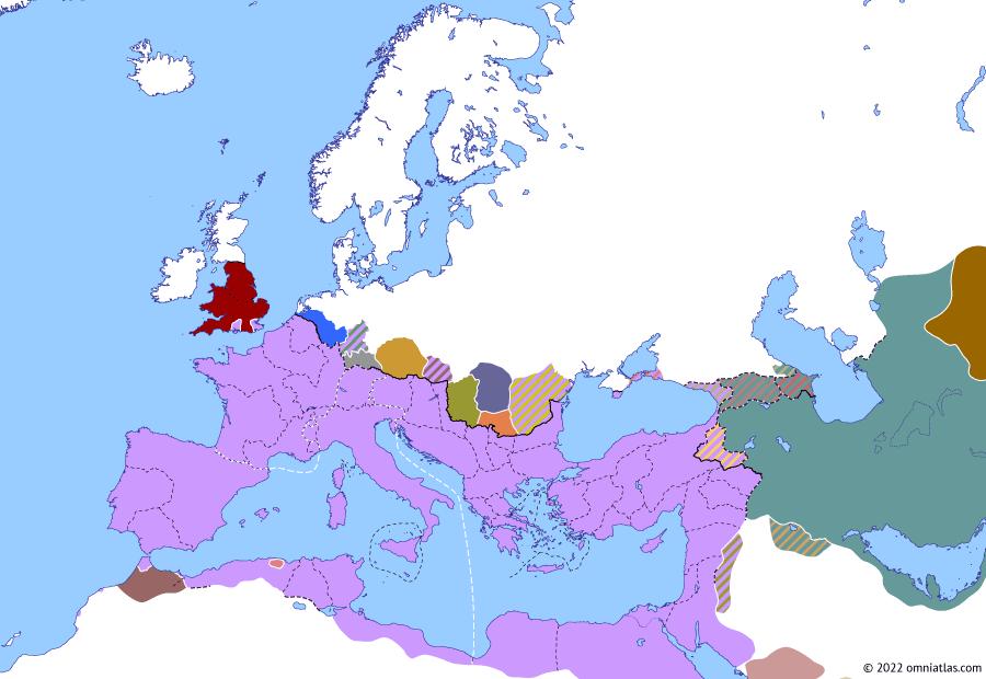 Political map of Europe & the Mediterranean on 22 Sep 296 (Diocletian and the Tetrarchy: Battle of Calleva Atrebatum), showing the following events: Diocletian's provincial reform; Narseh vs Bahram III; Busiris–Coptos revolt; Siege of Gesoriacum; Constantius' Frisian Campaign; Allectus; Diocletian's Third Sarmatian Campaign; Carpian Campaign of 296; Battle of Calleva Atrebatum.
