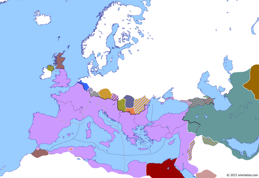 Political map of Europe & the Mediterranean on 12 May 297 (Diocletian and the Tetrarchy: Second Battle of Carrhae), showing the following events: Narseh's Roman campaign; Maximian's Moorish campaigns; Picts and Scoti; Roman Dioceses; Domitius Domitianus and Achilleus; Second Battle of Carrhae.